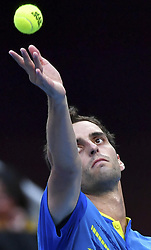 BEIJING, Oct. 2, 2018  Albert Ramos-Vinolas of Spain serves during the men's singles first round match against Juan Martin del Potro of Argentina at China Open tennis tournament in Beijing, China, Oct. 2, 2018. Albert Ramos-Vinolas lost 0-2. (Credit Image: © Liu Jinhai/Xinhua via ZUMA Wire)