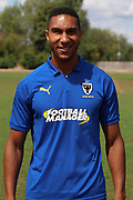 AFC Wimbledon defender Terell Thomas (6) during the AFC Wimbledon 2018/19 official photocall at the Kings Sports Ground, New Malden, United Kingdom on 31 July 2018. Picture by Matthew Redman.