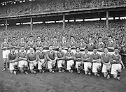 All Ireland Senior Football Championship Final, Kerry v Meath, 26091954AISFCF, Meath 1-13 Kerry 1-7, 26.09.1954, 09.26.1954, 26th Septmber 1954,.Meath Team:.Front Row (from left) Patsy Ratty, Jim Reilly, Kevin Lenehan, M O'Brien, Matthem McDonnell, X Dermott, Paddy M, Patsy McGearty, Billie Rattigan, Larry O'Brien, John Clarke, Miceal O'Brien. Back Row (from left) PJ Brady, Edward Durnin, Richard M, Jim Farrell, Brian Smith, Kevin Mc Connell, Thomas Moriarty, X Flanagan, Frankie Byrne, Gerard Smith, X O'Brien. .