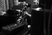 Albert Rothstein makes adjustments to audio Saturday in Florence during a recording session for Jenny Marie Keris' debut album. Rothstein is an emerging sound engineers in the Shoals.