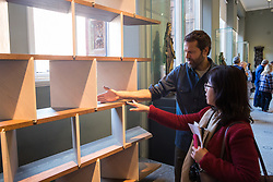 London, UK. 13 September, 2019. Designer Martino Gamper displays his shelves in fumed red oak with bleached veneer for Tamara Rojo CBE, Artistic Director of the English National Ballet, at the Victoria & Albert museum during the London Design Festival launch. The design forms part of the Legacy installation.