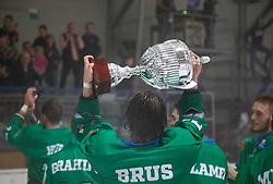Nejc Brus HK SZ Olimpija Ljubljana celebrate win of Ice Hockey Slovenia Cup bettwen HK SIJ Acroni Jesenice and HK SZ Olimpija  Ljubljana on September 8, 2018 in Kranj, Slovenia. Photo by Urban Meglic / Sportida