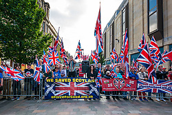 Pictured: All Under One Banner Independence March, Perth, Scotland, United Kingdom,  7 September 2019. Independence supporters march through Perth in the latest All Under One Banner (AUOB) march of this year. A counter-protest by Unionists called A Force for Good.<br /> Sally Anderson | EdinburghElitemedia.co.uk