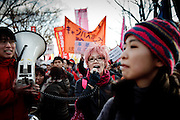 Tokyo, February 11 2012 - Anti-nuke protest in Tokyo, 11 months after the accident at Fukushima nuclear power plant.