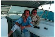 Luca di Montezemolo  and Diego la Valle on a boat trip. CapriCapri, May 1997, © Copyright Photograph by Dafydd Jones 66 Stockwell Park Rd. London SW9 0DA Tel 020 7733 0108 www.dafjones.com