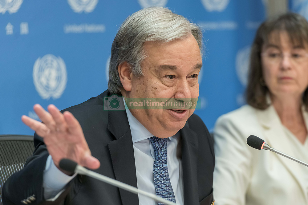 June 20, 2017 - New York, NY, United States - Antonio Guterres, United Nations, UN, Secretary-General, leadership, press, briefing, agenda, management, operations, intragovernmental, organization, Headquarters, New York City, New York, NY, USA, foreign, affairs, policy, politics, Sustainable Development Goals, SDG, General Assembly, tenure, conflict, peace, security, global, diplomacy, world, refugee, migrant (Credit Image: © Albin Lohr-Jones/Pacific Press via ZUMA Wire)