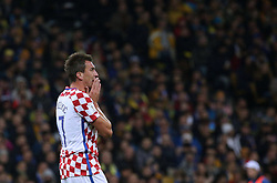 October 9, 2017 - Kiev, Ukraine - Croatia's Mario Mandzukic reacts during the World Cup Group I qualifying soccer match between Ukraine and Croatia at the Olympic Stadium in Kiev. Ukraine, Monday, October 9, 2017  (Credit Image: © Danil Shamkin/NurPhoto via ZUMA Press)
