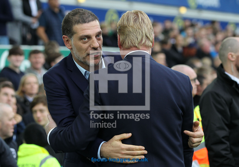Everton manager Ronald Koeman greets Slaven Bilic, manager of West Ham United before the Premier League match at Goodison Park, Liverpool.<br /> Picture by Michael Sedgwick/Focus Images Ltd +44 7900 363072<br /> 30/10/2016