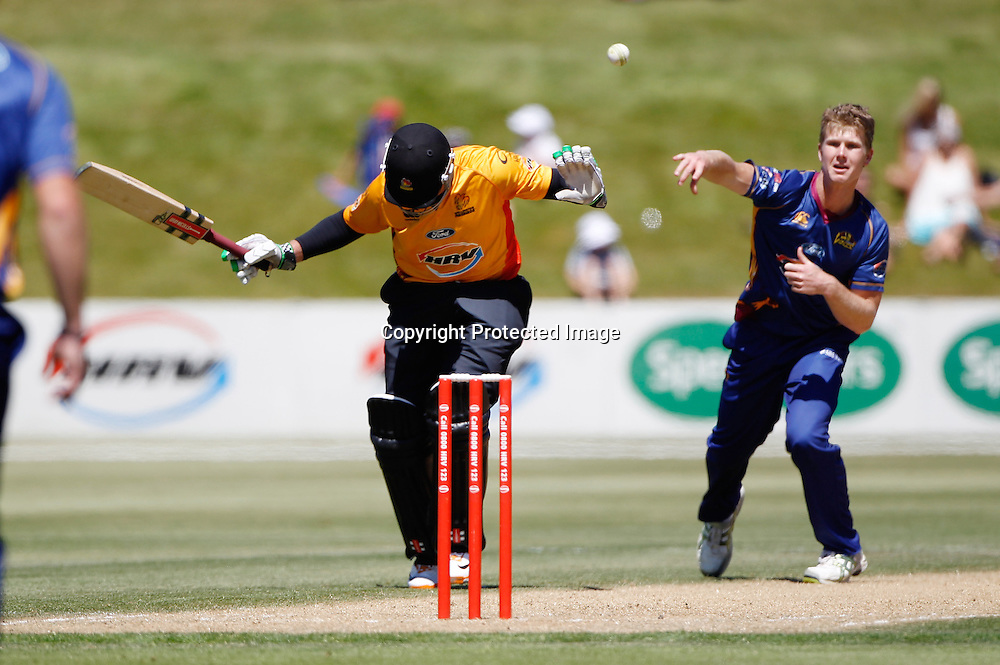 Volts Aaron Redmond hits Brendon Taylor in an attempted run out during the Twenty20 Cricket - HRV Cup, Otago Volts v Wellington Firebirds, Saturday 31 December 2011, Queenstown Events Centre, Queenstown, New Zealand. Photo: Michael Thomas/photosport.co.nz