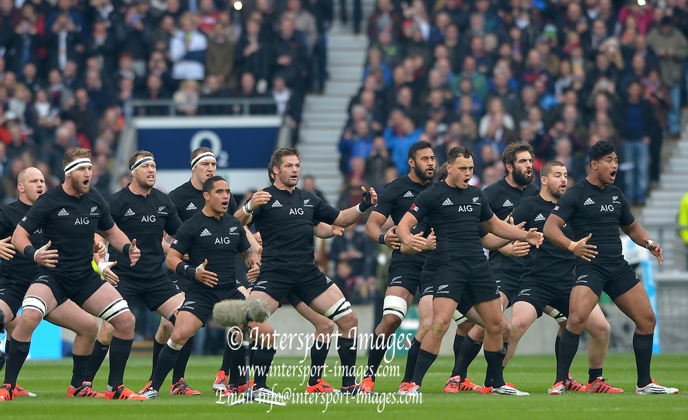 Twickenham, Great Britain, The Haka, traditional ancestral war cry, dance or challenge of the Māori , performed pre match by the  New Zealand national rugby union team  QBE Autumn Internationals, England vs New Zealand, RFU Stadium Twickenham, Surrey.  Saturday  08/11/2014 [Mandatory Credit; Peter SPURRIER/Intersport Images]