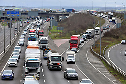 &copy; Licensed to London News Pictures.29/03/2018<br /> Dartford, UK.<br /> A2 slip road traffic joining the M25 Darenth Interchange.<br />  Maundy Thursday Easter traffic chaos has started early on the<br /> M25, Darenth Interchange (Anti Clock-wise) NEAR Dartford in Kent<br />  Photo credit: Grant Falvey/LNP