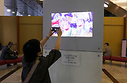 person photographing a tv screen with a detail reproduction of The Intrigue by Belgium artist James Ensor