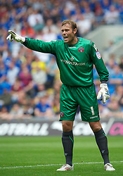 CARDIFF, WALES - Sunday, August 8, 2010: Sheffield United's goalkeeper Steve Simonsen in action against Cardiff City during the League Championship match at the Cardiff City Stadium. (Pic by: David Rawcliffe/Propaganda)