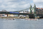 London. UNITED KINGDOM.  Both crews approaching Hammersmith Bridge.  The 71st Newton Women's Boat Race on the Championship Course, River Thames, Putney/Mortlake.  Sunday  27/03/2016    [Mandatory Credit. Intersport Images]<br /> <br /> Oxford University Women's Boat Club {OUWBC} vs Cambridge University Women's Boat Club {CUWBC} <br /> <br /> Oxford, Crew Cox &ndash; Morgan Baynham-Williams, Stroke &ndash; Lauren Kedar, 7 &ndash; Maddy Badcott, 6 &ndash; Anastasia Chitty, 5 &ndash; Elo Luik, 4 &ndash; Ruth Siddorn, 3 &ndash; Joanneke Jansen, 2 &ndash; Emma Spruce, Bow &ndash; Emma Lukasiewicz<br /> <br /> Cambridge, Crew Bow Ashton Brown, 2 Fiona Macklin, 3 Alice Jackson, 4 Thea Zabell, 5 Daphne Martschenko, 6 Myriam Goudet, 7 Hannah Roberts, Stroke Zara Goozee, Cox Rosemary Ostfeld.