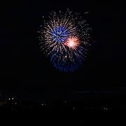 Fireworks provide amazing streaks of light.  Fireworks in Medford, Oregon on Indepedence Day