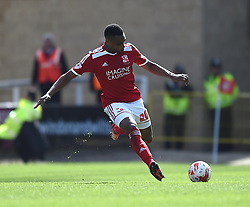 Swindon Town's Jon Obika in action during the Sky Bet League One match between Swindon Town and Peterborough United at The County Ground on 11 April 2015 in Swindon, England - Photo mandatory by-line: Paul Knight/JMP - Mobile: 07966 386802 - 11/04/2015 - SPORT - Football - Swindon - The County Ground - Swindon Town v Peterborough United - Sky Bet League One