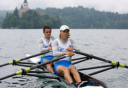 Matevz Malesic (L) and Jure Cvet compete during finals B at Rowing World Cup  on May 30, 2010, at Bled's lake, Bled, Slovenia. (Photo by Vid Ponikvar / Sportida)