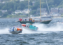 The P1 Scottish Grand Prix of the Sea is the second of four events across the UK for the P1 Powerboat Championship taking place at Greenock.<br /> <br /> <br /> Pictured: Pertemps Network team leading Milford Waterfront Pembrokeshire Panther team
