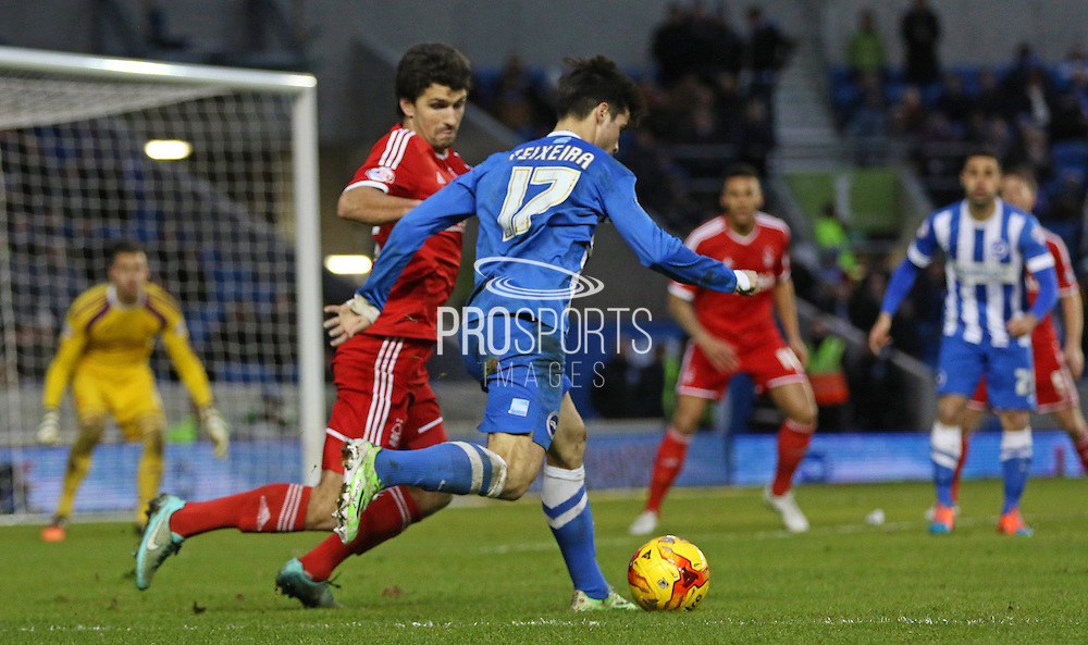 Brighton's Joao Teixeira during the Sky Bet Championship match between Brighton and Hove Albion and Nottingham Forest at the American Express Community Stadium, Brighton and Hove, England on 7 February 2015. Photo by Phil Duncan.