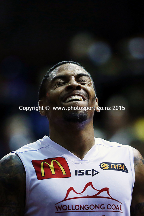 Gary Ervin of the Hawks reacts. 2014/15 ANBL, SkyCity Breakers vs Wollongong Hawks, North Shore Events Centre, Auckland, New Zealand. Thursday 8 January 2015. Photo: Anthony Au-Yeung / www.photosport.co.nz