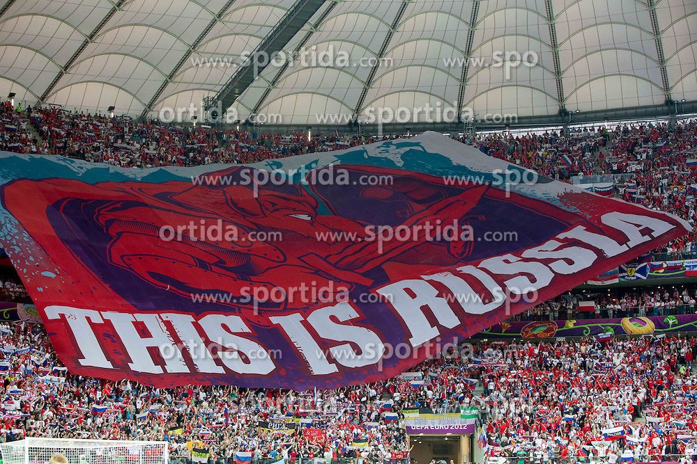12.06.2012, Nationalstadion, Warschau, POL, UEFA EURO 2012, Polen vs Russland, Gruppe A, im Bild Supporters of Russia // during the UEFA Euro 2012 Group A Match between Poland and Russia at the National Stadium Warsaw, Poland on 2012/06/12. EXPA Pictures © 2012, PhotoCredit: EXPA/ Sportida/ Vid Ponikvar..***** ATTENTION - OUT OF SLO *****