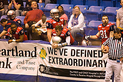 14 March 2009: Mitch Tanney (7) takes a break on the bench.The Sioux Falls Storm were hosted by the Bloomington Extreme in the US Cellular Coliseum in downtown Bloomington Illinois.