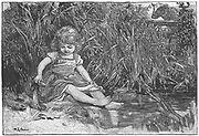 Silas Marner by George Eliot, 1861. Eppie, at the age of three, has slipped out of the house while Silas Marner was busy, and amuses herself by the pond. Illustration by Mary L.Gow (1851-1929) published 1882.