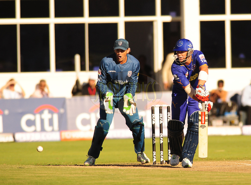 PORT ELIZABETH, SOUTH AFRICA - 2 May 2009.  Warne batting as fello Australian teammate Gilchrist keeps wicket during the  IPL Season 2 match between the Deccan chargers vs Rajasthan Royals held at St Georges Park in Port Elizabeth , South Africa.