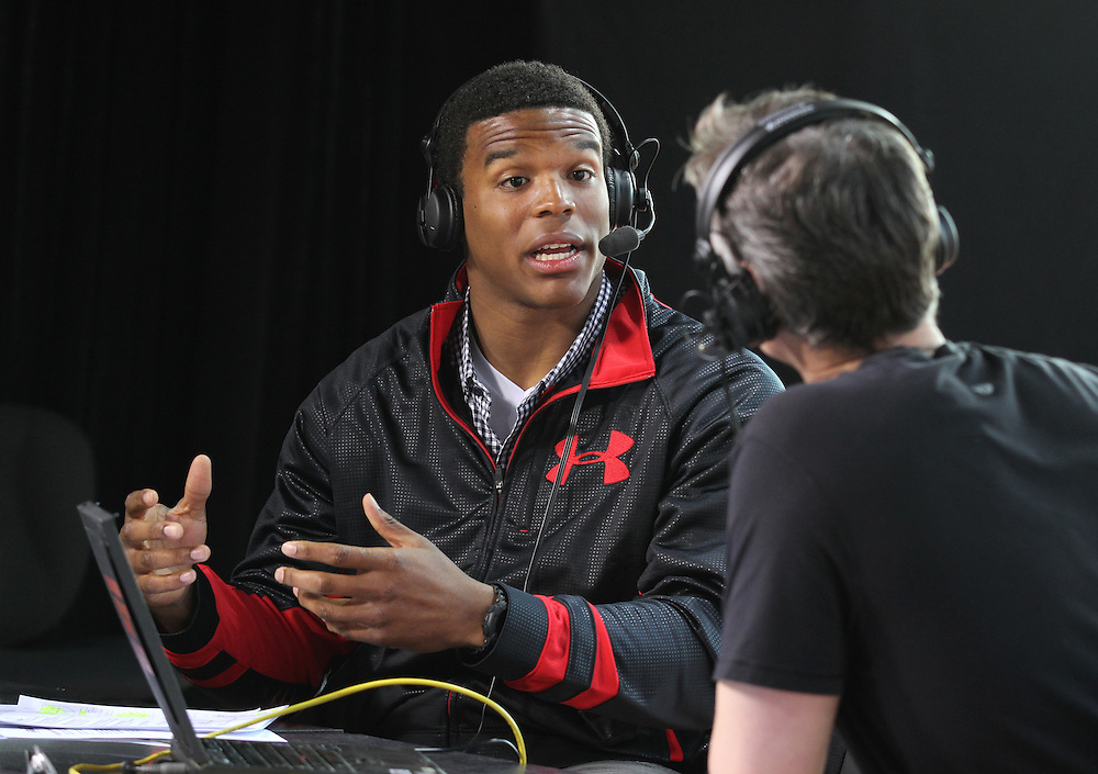 Carolina Panthers quarterback Cam Newton talks to Colin Cowherd on ESPN's The Herd from Pan Am Plaza in Indianapolis, Ind. Thursday February 2, 2012. .Photo by Chris Bergin