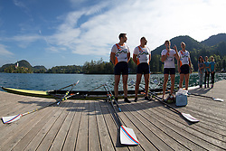 Iztok Cop with Jüri Jaanson, Vaclav Chalupa and Davor Mizerit during rowing at Slovenian National Championship and farewell of Iztok Cop, on September 22, 2012 at Lake Bled, Ljubljana Slovenia. (Photo By Matic Klansek Velej / Sportida)
