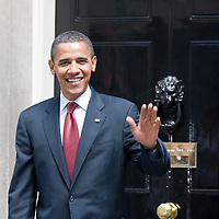 London, Downing Street July 26th  USA Presidential Candidate Baraka Obama enters Dn10 Downing Street to meet Prime Minister Gordon Brown