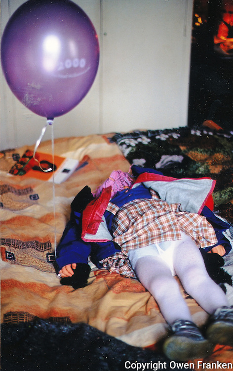 manui asleep with a balloon, birthday