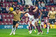Craig Halkett (#26) of Heart of Midlothian FC scores the equalising goal in injury time during the Betfred Scottish Football League Cup quarter final match between Heart of Midlothian FC and Aberdeen FC at Tynecastle Stadium, Edinburgh, Scotland on 25 September 2019.