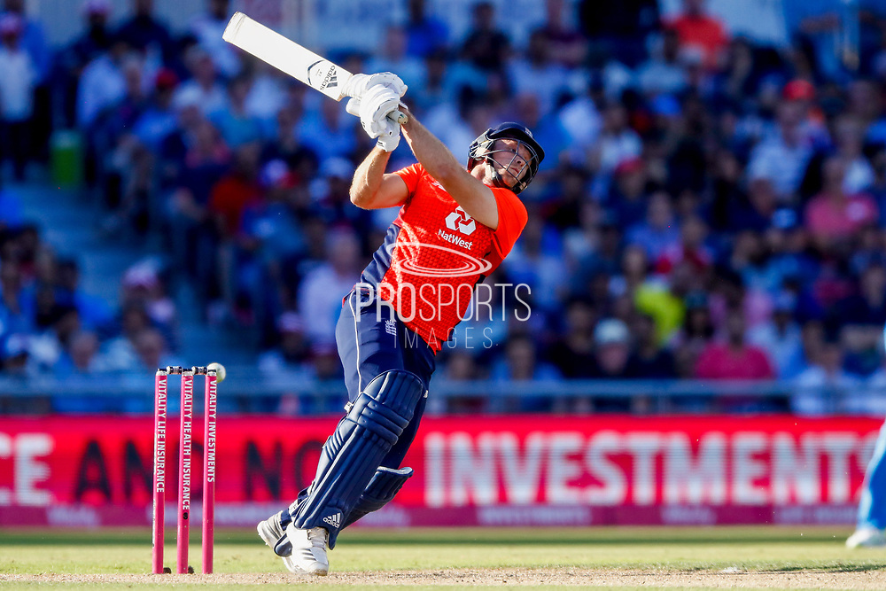 England T20 all rounder David Willey with a wild swing  during the International T20 match between England and India at Old Trafford, Manchester, England on 3 July 2018. Picture by Simon Davies.