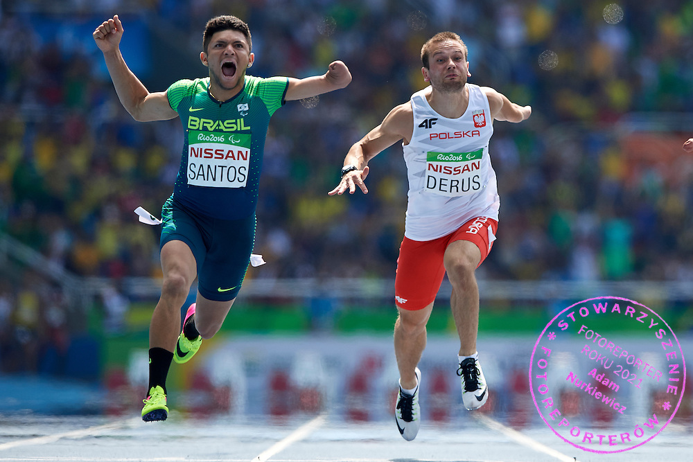 Rio de Janeiro, Brazil - 2016 September 11: (L) Petrucio Ferreiria dos Santos from Brazil wins next to runner-up (R) Michal Derus from Poland in Men's 100m - T47 Final at Olympic Stadium during 2016 Summer Paralympic Games on September 11, 2016 in Rio de Janeiro, Brazil.<br /> <br /> Adam Nurkiewicz declares that he has no rights to the image of people at the photographs of his authorship.<br /> <br /> Picture also available in RAW (NEF) or TIFF format on special request.<br /> <br /> Any editorial, commercial or promotional use requires written permission from the author of image.<br /> <br /> Mandatory credit:<br /> Photo by &copy; Adam Nurkiewicz / Mediasport