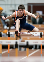 Greg Nelson (Virginia) in the men's 55m hurdles.  Day 1 of the Virginia Tech Invitational Track and Field meet was held at the Rector Field House on the campus of Virginia Tech in Blacksburg, VA on January 11, 2008.