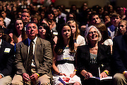 DENVER, CO - MAY 7: Candidates and their families listen during the Sealed and Sent confirmation event at the Denver Coliseum on May 7, 2016, in Denver, Colorado. (Photo by Daniel Petty/Archdiocese of Denver)