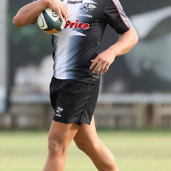 Patrick Lambie<br /> is pictured during the Sharks training session at the Absa Stadium on Thursday 22nd 2010 in Durban, South Africa. . Photo by Steve Haag