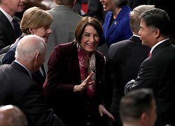 United States Senator Amy Klobuchar (Democrat of Minnesota) speaks with her colleagues prior to United States President Donald J. Trump delivering his second annual State of the Union Address to a joint session of the US Congress in the US Capitol in Washington, DC, USA on Tuesday, February 5, 2019. Photo by Alex Edelman/CNP/ABACAPRESS.COM