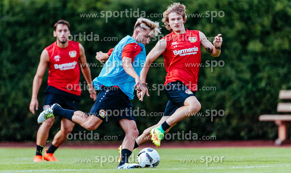 29.07.2016, Alois Latini Stadion, Zell am See, AUT, Bayer 04 Leverkusen, Trainingslager, im Bild Kevin Kampl (Bayer 04 Leverkusen), Tin Jedvaj (Bayer 04 Leverkusen) // during the Trainingscamp of German Bundesliga Club Bayer 04 Leverkusen at the Alois Latini Stadium in Zell am See, Austria on 2016/07/29. EXPA Pictures © 2016, PhotoCredit: EXPA/ JFK