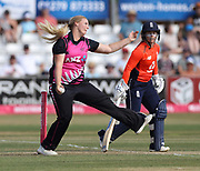 Jess Watkin bowls past Tammy Beaumont during the international T20 Final between England Women and the White Ferns at the County Ground, Chelmsford. Photo: Graham Morris/www.photosport.nz 01/07/18