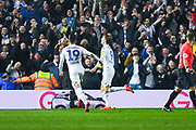 Patrick Bamford of Leeds United (9) scores a goal and celebrates to make the score 3-0 during the EFL Sky Bet Championship match between Leeds United and West Bromwich Albion at Elland Road, Leeds, England on 1 March 2019.