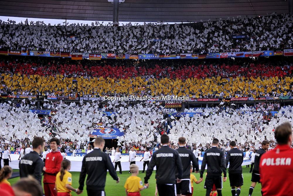 2016.06.16 Saint-Denis<br /> Pilka nozna Euro 2016<br /> mecz grupy C Polska - Niemcy<br /> N/z oprawa kibicow niemiec<br /> Foto Lukasz Laskowski / PressFocus<br /> <br /> 2016.06.16 Saint-Denis<br /> Football UEFA Euro 2016 group C game between Poland and Germany<br /> oprawa kibicow niemiec<br /> Credit: Lukasz Laskowski / PressFocus