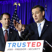 Wisconsin Governor Scott Walker. left, and Republican Presidential candidate Ted Cruz celebrate his victory in the Wisconsin primary Tuesday April 5, 2016. <br /> Photography by Jose More
