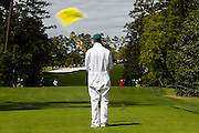 Preston Henry, who has been a forecaddie at the 18th tee for the past 6 years, alerts patrons and officials that players are approaching the tee during the final round of the 2016 Masters Tournament, Golf: 2016 Masters<br /> Round 4 Sunday<br /> Augusta National/Augusta, GA, USA<br /> 04/10/2016<br /> SI-14 TK4<br /> Credit: Darren Carroll