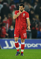 Football - International Friendly Gary Speed Memorial Match - Wales vs. Costa Rica<br /> Joe Ledley of Wales looks dejected having lost to Costa Rica at the Cardiff City Stadium