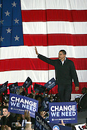 Barak Obama at a rally in Manassas, Virginia on the last night of the campaign--November 3rd, 2008.  Crowd estimate 90,000.  Photograph by Dennis Brack