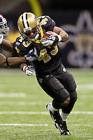 28 November 2011: Runningback (43) Darren Sproles of the New Orleans Saints runs the ball against the New York Giants during the first half of the Saints 49-24 victory over the Giants at the Mercedes-Benz Superdome in New Orleans, LA.