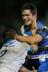 Bath Flanker Francois Louw, returning from injury, tussles with Montpellier Hooker Charles Geli - Photo mandatory by-line: Rogan Thomson/JMP - 07966 386802 - 12/12/2014 - SPORT - RUGBY UNION - Bath, England - The Recreation Ground - Bath Rugby v Montpellier Herault Rugby - European Rugby Champions Cup Pool 4.
