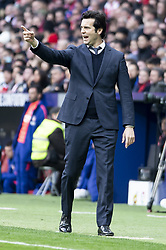 February 9, 2019 - Madrid, Spain - Coach Santiago Solari of Real Madrid during La Liga match between Atletico de Madrid and Real Madrid at Wanda Metropolitano in Madrid Spain. February 09, 2018. (Credit Image: © Peter Sabok/NurPhoto via ZUMA Press)